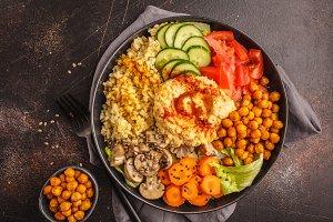 Buddha bowl with hummus