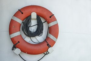 Life buoy on a ship