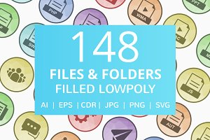 148 Files & Folders Low Poly Icons