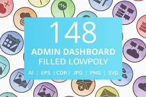 148 Admin Dashboard Low Poly Icons