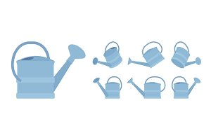 Watering plastic can in blue color