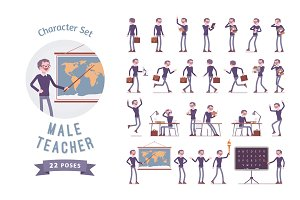 Male teacher character set