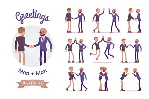 Male friends business greeting set