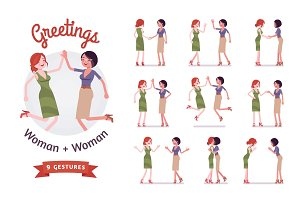 Female friends business greeting set