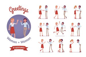 Female friends greeting set
