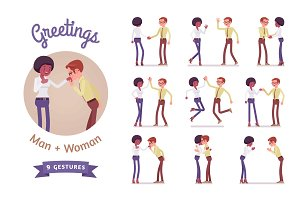 Male and female greeting set