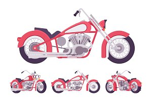 Chopper motorcycle set in bright red