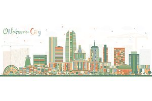 Oklahoma City Skyline with Color