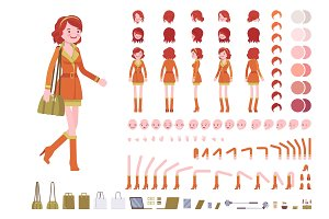 Redhead lady character creation set