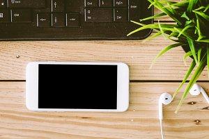 Blank screen smartphone and earphone