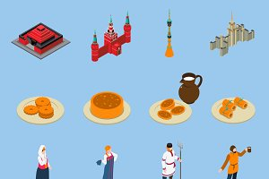 Russia isometric touristic icons set