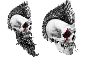 Punk skull illustration.Skull print.