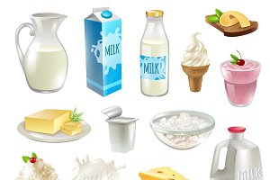 Milk products cartoon icons set
