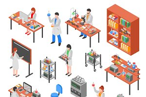 Scientists laboratory isometric set