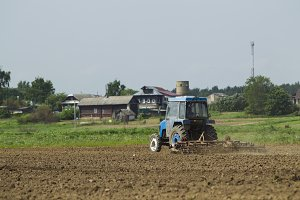 The tractor in the field on agricult