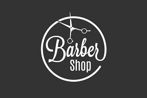 Barbershop logo with barber scissors