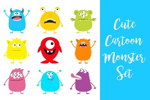 Cute monster icon set.