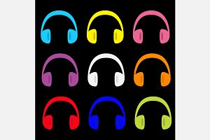 Headphones earphones icon set.