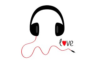 Headphones with red cord. Word Love.