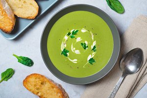 Spinach Soup in a Bowl, Top View, Ve