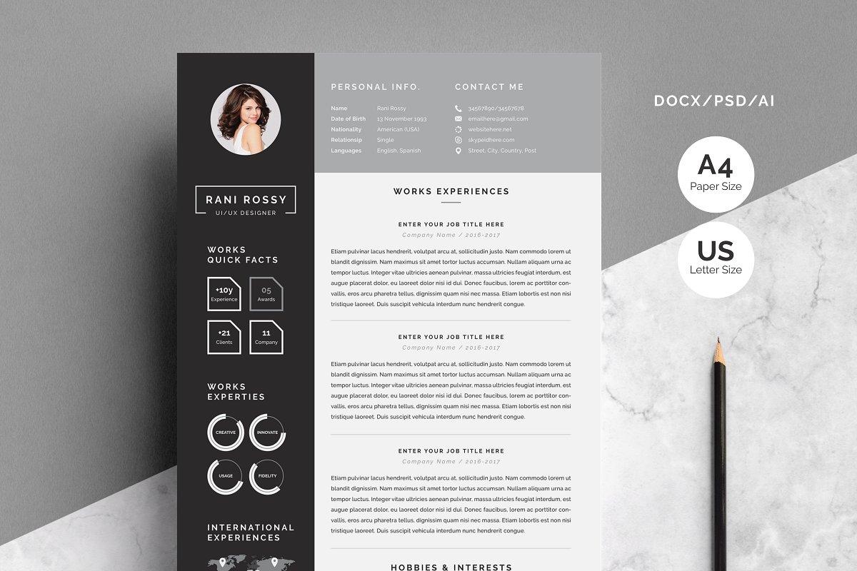 Word Infographic CV ~ Resume Templates ~ Creative Market