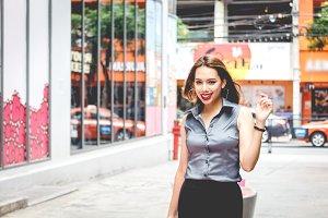 Fashion young woman walking