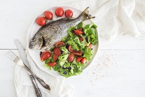 Cooked sea bream fish