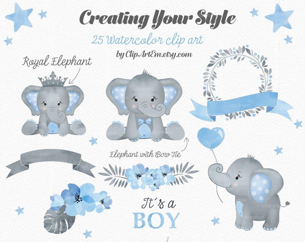 Boy Blue Gray Elephant Clipart ~ Illustrations ~ Creative ...
