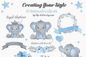 Boy Blue Gray Elephant Clipart