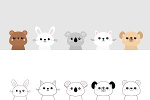 Bear, dog, cat, rabbit, koala set.