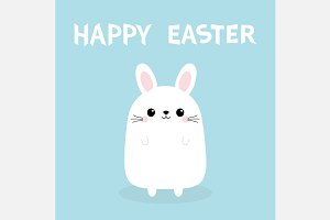 Happy Easter. White bunny rabbit.