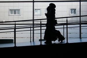 Two muslim girls silhouette walking
