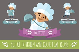 Set of kitchen and cook flat icons