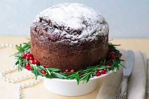 Christmas Cake Decorated with Icing
