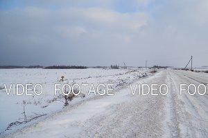 Winter landscape of fields and roads