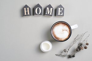 Home Cozy Concept with Cup of Coffee
