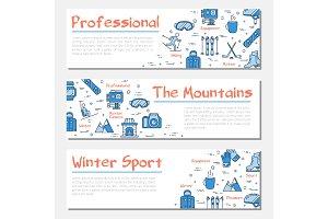 Blue three winter sport banners