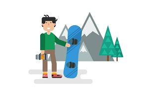Flat guy with snowboard against