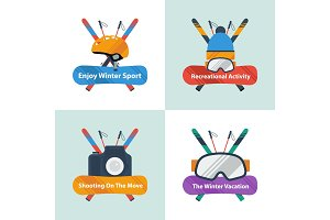 Four winter sport concept with text