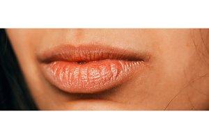 a beautiful arabic female lips close