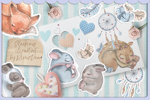 Cute watercolor sleeping animals set