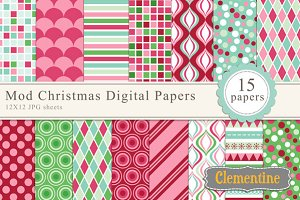 Mod Christmas Digital Papers