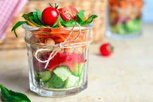 Healthy Homemade Jar Salad, Vegan De