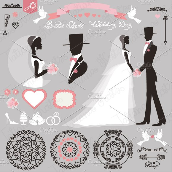 Wedding decor set. Retro elements - Illustrations