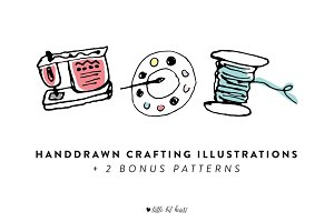 11 Handdrawn Crafting Illustrations