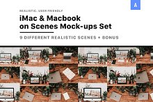 iMac & Macbook on Scenes Mock-ups by  in Product Mockups