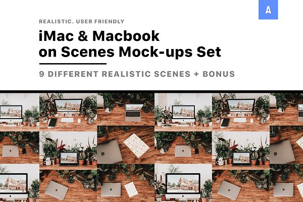 Product Mockups - iMac & Macbook on Scenes Mock-ups