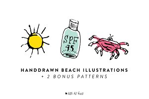 14 Handdrawn Beach Illustrations