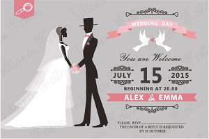 Retro wedding invitation. Vector