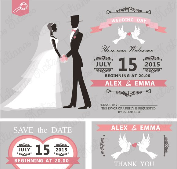Retro wedding invitation vector invitation templates creative retro wedding invitation vector invitation templates creative market stopboris Gallery